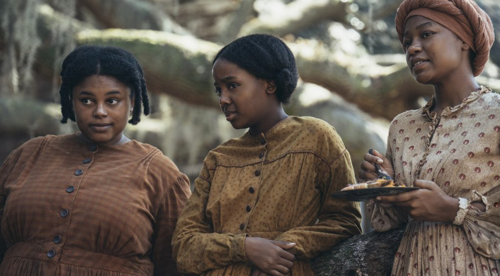 L-r: Zsane Jhey is Lovey, Thuso Mbedu is Cora, and Aubriana Davis is Rose. Photo by Atsushi Nishjima. Courtesy Amazon Studios.