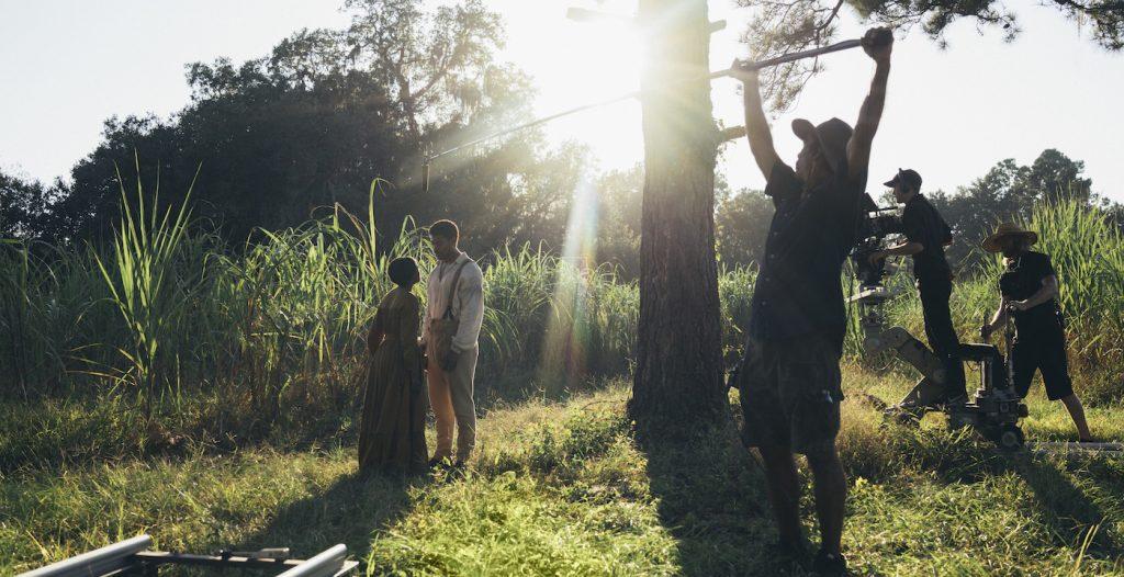Thuso Mbedu is Cora Randall and Aaron Pierre is Caesar/Christian. Photo by Atsushi Nishjima. Courtesy Amazon Studios.