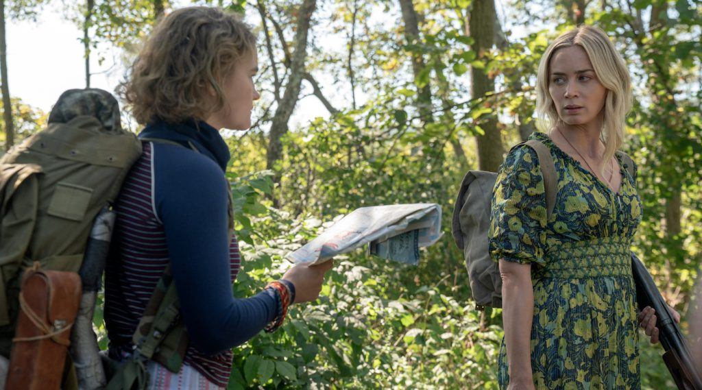 """Regan (Millicent Simmonds), left, and Evelyn (Emily Blunt) brave the unknown in """"A Quiet Place Part II."""" Photo by Jonny Cournoyer. Courtesy Paramount Pictures."""