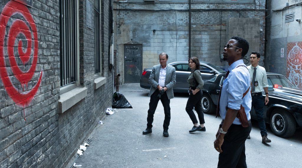 "Chris Rock stars as Detective Ezekiel ""Zeke"" Banks in ""Spiral."" Photo credit: Brooke Palmer. Courtesy Lionsgate."