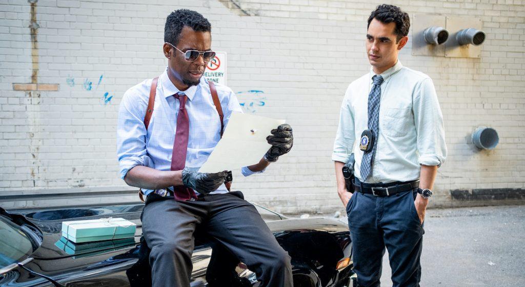 "Chris Rock stars as Detective Ezekiel ""Zeke"" Banks and Max Minghella as Detective William in ""Spiral."" Photo credit: Brooke Palmer. Courtesy Lionsgate."