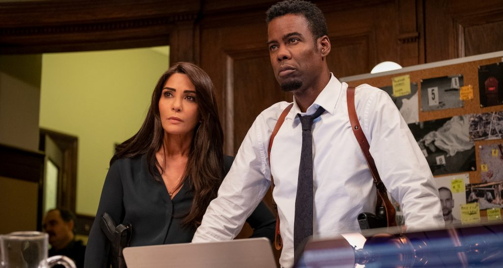 """Marisol Nichols as Captain Angie Garza and Chris Rock as Detective Exekiel """"Zeke"""" Banks in """"Spiral."""" Photo by Brooke Palmer. Courtesy Lionsgate."""