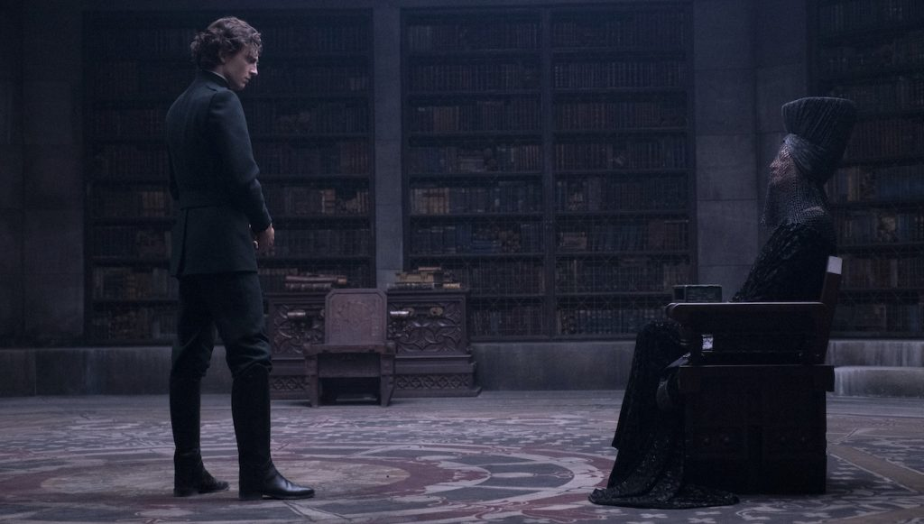 """Caption: (L-r) TIMOTHÉE CHALAMET as Paul Atreides and CHARLOTTE RAMPLING as Reverend Mother Mohiam in Warner Bros. Pictures' and Legendary Pictures' action adventure """"DUNE,"""" a Warner Bros. Pictures and Legendary release. Photo Credit: Chiabella James"""