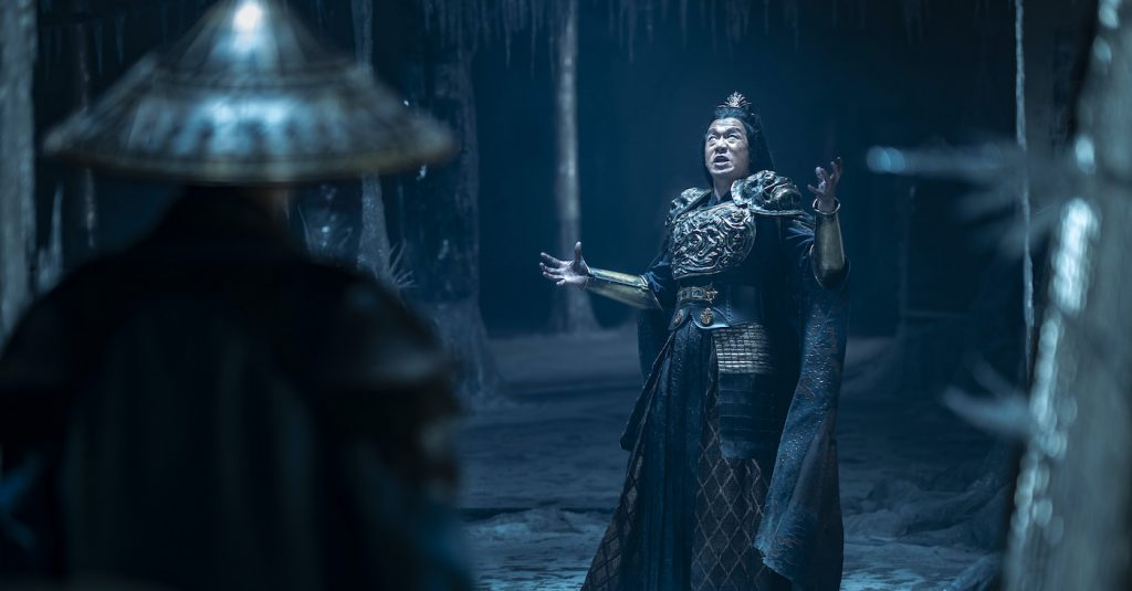 """Caption: (L-r) TADANOBU ASANO as Lord Raiden and CHIN HAN as Shang Tsung in New Line Cinema's action adventure """"Mortal Kombat,"""" a Warner Bros. Pictures release. Photo Credit: Mark Rogers"""