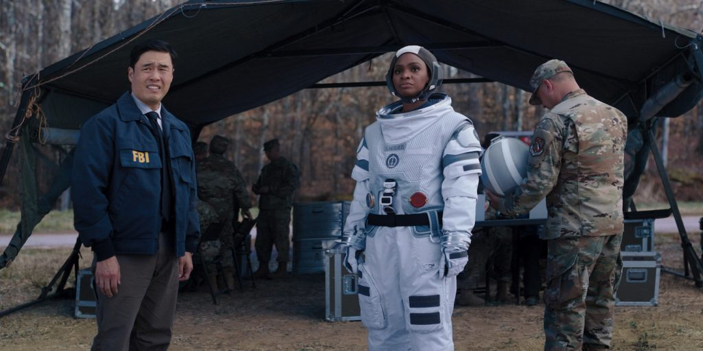 """L-r: Randall Park as Jimmy Wood and Teyonah Parris as Monica Rambeau in """"WandaVision."""" Courtesy Marvel Studios."""