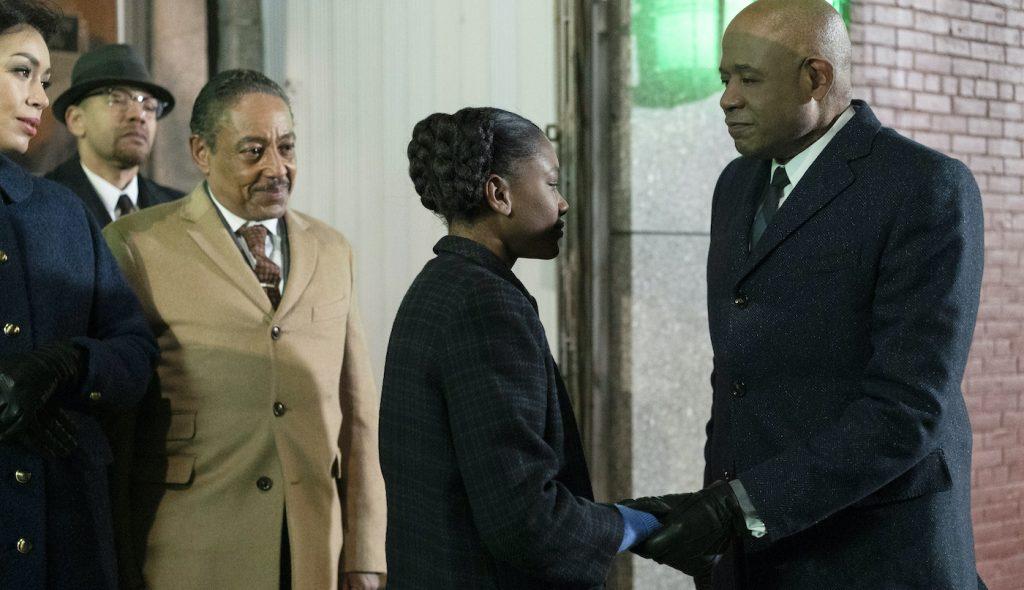 "L-r: Giancarlo Esposito, Ilfenesh Hadera, and Forest Whitaker in ""Godfather of Harlem."" Courtesy EPIX"