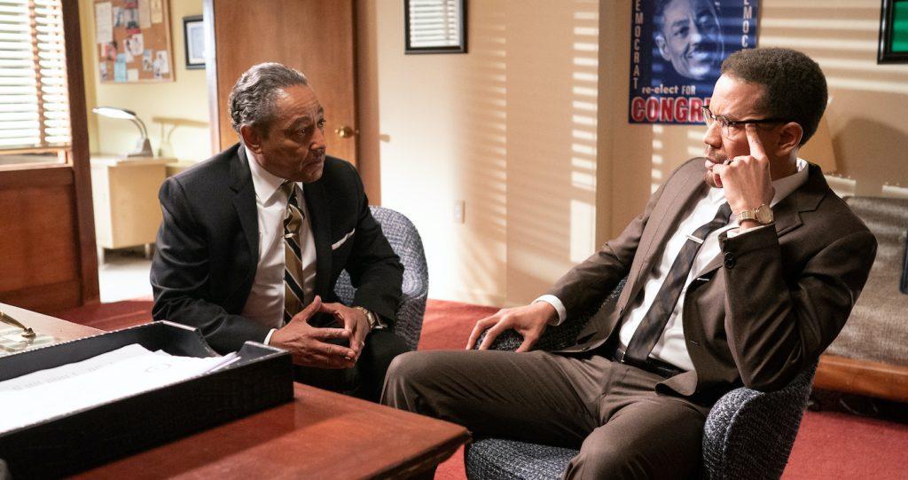 "Giancarlo Esposito and Nigel Hatch in ""Godfather of Harlem."" Courtesy EPIX."