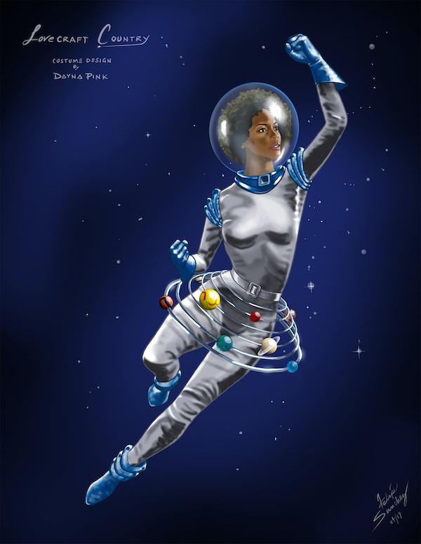"""Danya's illustration of Hippolyta (Aunjanue Ellis) during her multidimensional journey in episode 7, """"I Am."""" Courtesy Dayna Pink."""