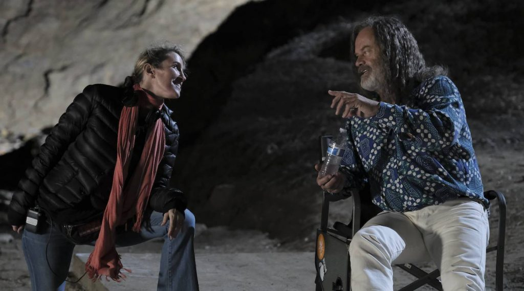 L-r: Director Rachel Winter and Kelsey Grammer on the set of