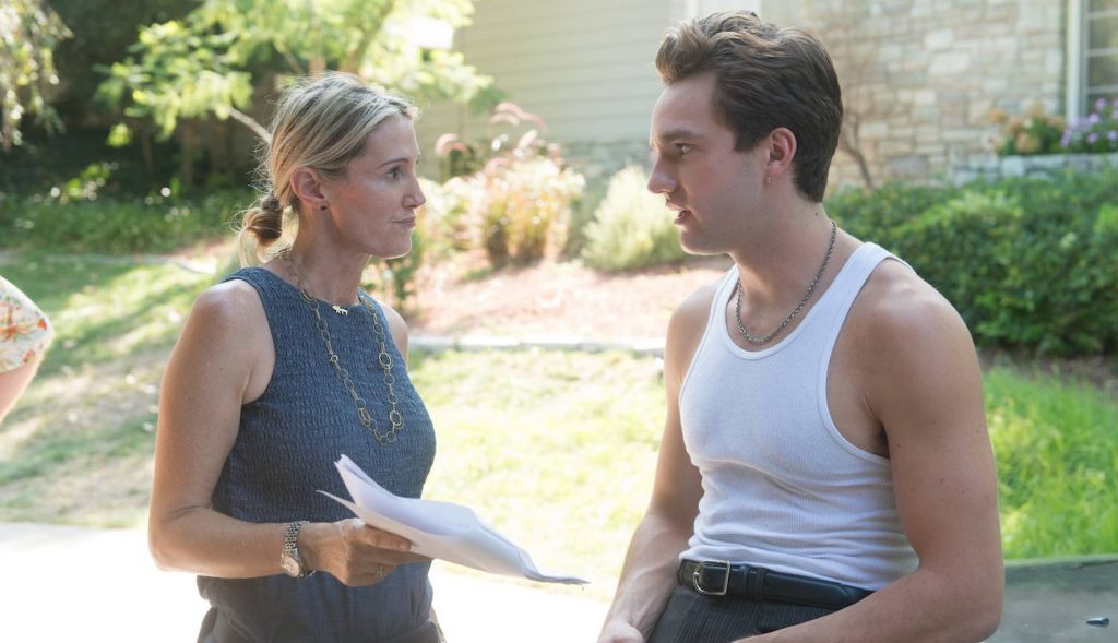 """Rachel Winter and Jackson White on the set of """"The Space Between."""" Courtesy Paramount."""