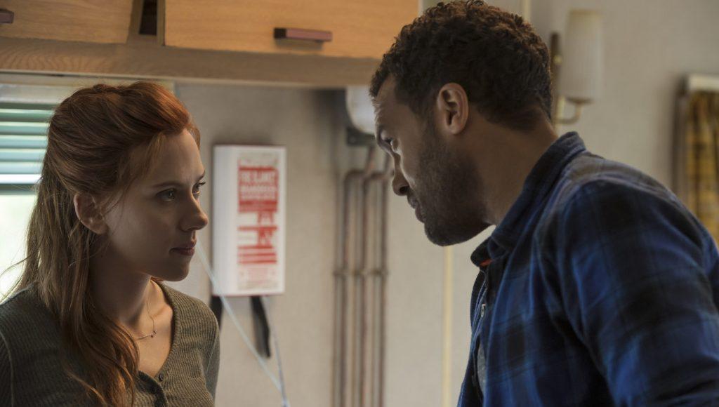 Natasha Romanoff (Scarlett Johansson) as Black Widow and Mason (O-T Fagbenle) in Marvel Studios' BLACK WIDOW. Photo by Jay Maidment. ©Marvel Studios 2020.