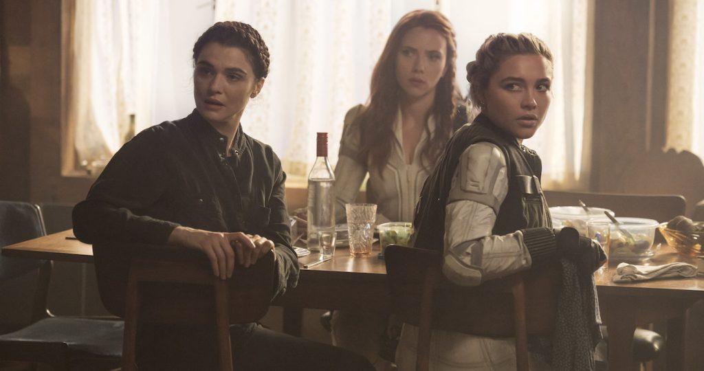 Melina (Rachel Weisz), Black Widow/Natasha Romanoff (Scarlett Johansson) and Yelena (Florence Pugh) in Marvel Studios' BLACK WIDOW. Photo by Jay Maidment. ©Marvel Studios 2020.