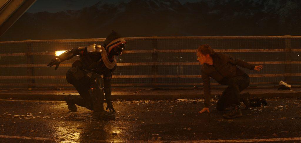 L-r: Taskmaster and Black Widow/Natasha Romanoff (Scarlett Johansson) in Marvel Studios' BLACK WIDOW. Courtesy Marvel Studios.