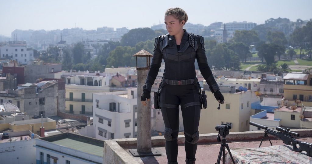"""Yelena (Florence Pugh) in Marvel Studio's """"Black Widow,"""" in theaters and on Disney+ with Premiere Access. Photo by Kevin Baker. Courtesy Marvel Studios."""