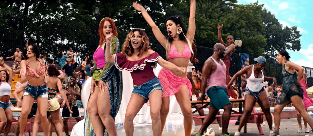 """Caption: (Center l-r) DASCHA POLANCO as Cuca, DAPHNE RUBIN-VEGA as Daniela and  STEPHANIE BEATRIZ as Carla in Warner Bros. Pictures' """"IN THE HEIGHTS,"""" a Warner Bros. Pictures release. Photo Credit: Courtesy of Warner Bros. Pictures"""