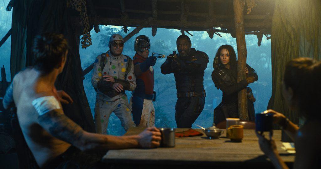 "Caption: (L-r) JOEL KINNAMAN as Colonel Rich Flag, DAVID DASTMALCHIAN as Polka-Dot Man, JOHN CENA as Peacemaker, IDRIS ELBA as Bloodsport, DANIELA MELCHIOR as Ratcatcher 2 and ALICE BRAGA as Sol Soria in Warner Bros. Pictures' superhero action adventure ""THE SUICIDE SQUAD,"" a Warner Bros. Pictures release. Photo Credit: Courtesy of Warner Bros. Pictures/™ & © DC Comics"
