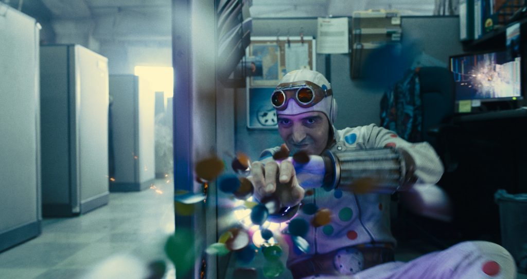 """Caption: DAVID DASTMALCHIAN as Polka-Dot Man in Warner Bros. Pictures' superhero action adventure """"THE SUICIDE SQUAD,"""" a Warner Bros. Pictures release. Photo Credit: Courtesy of Warner Bros. Pictures/™ & © DC Comics"""