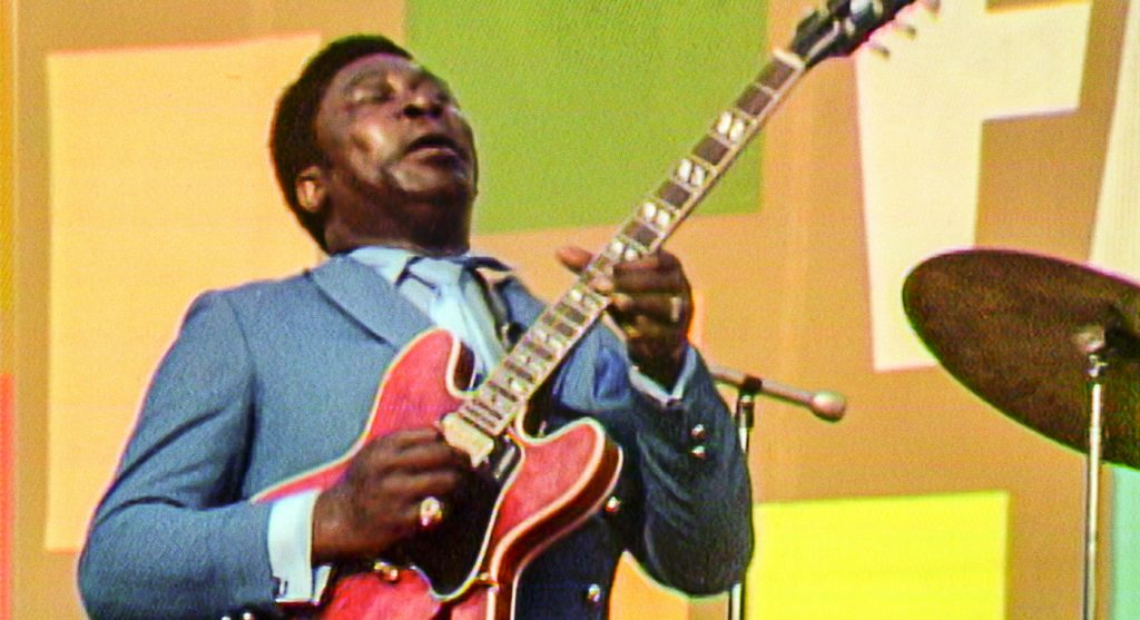 B.B. King performing at the Harlem Cultural Festival in 1969, featured in the documentary SUMMER OF SOUL. Photo Courtesy of Searchlight Pictures. © 2021 20th Century Studios All Rights Reserved