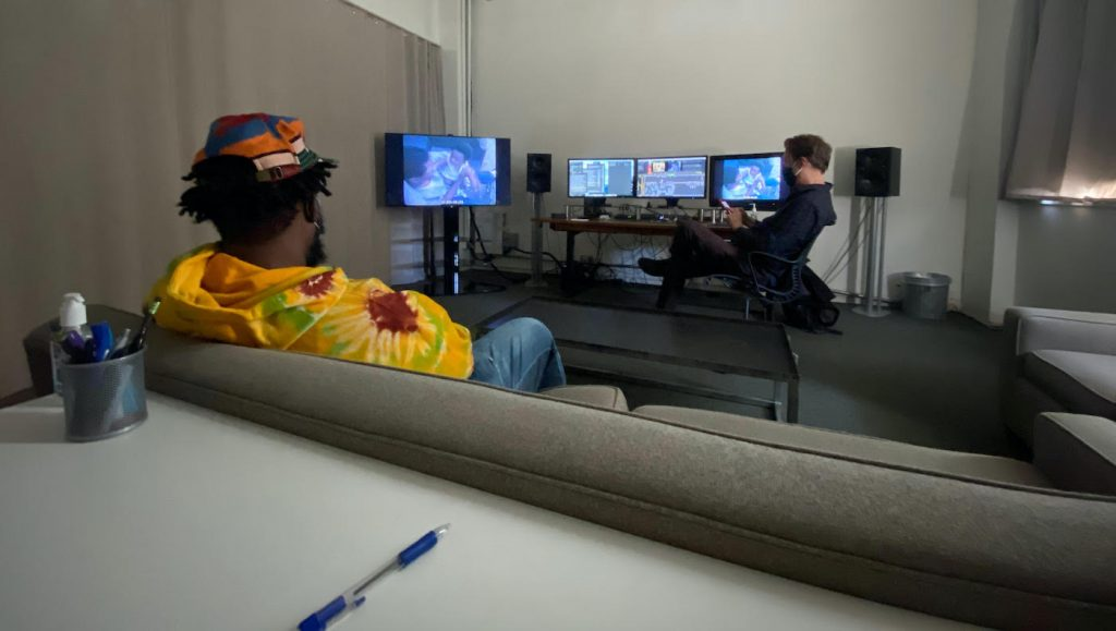 """Questlove and Josh Pearson at work on """"Summer of Soul."""" Courtesy Searchlight Films."""