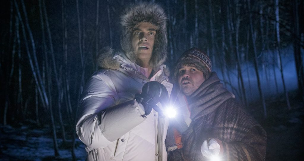 Cheyenne Jackson and Harvey Guillen in WEREWOLVES WITHIN. Courtesy IFC Films