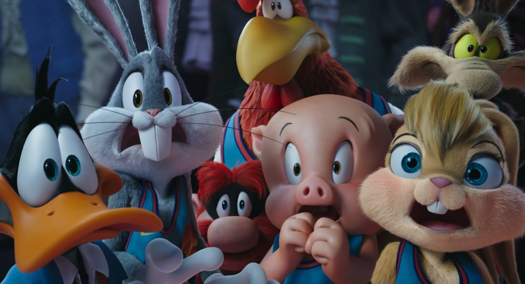 """Caption: (L-r) DAFFY DUCK, BUGS BUNNY, YOSEMITE SAM, FOGHORN LEGHORN, PORKY PIG, LOLA BUNNY and WILE E. COYOTE in Warner Bros. Pictures' animated/live-action adventure """"SPACE JAM: A NEW LEGACY,"""" a Warner Bros. Pictures release. Photo Credit: Courtesy Warner Bros. Pictures"""