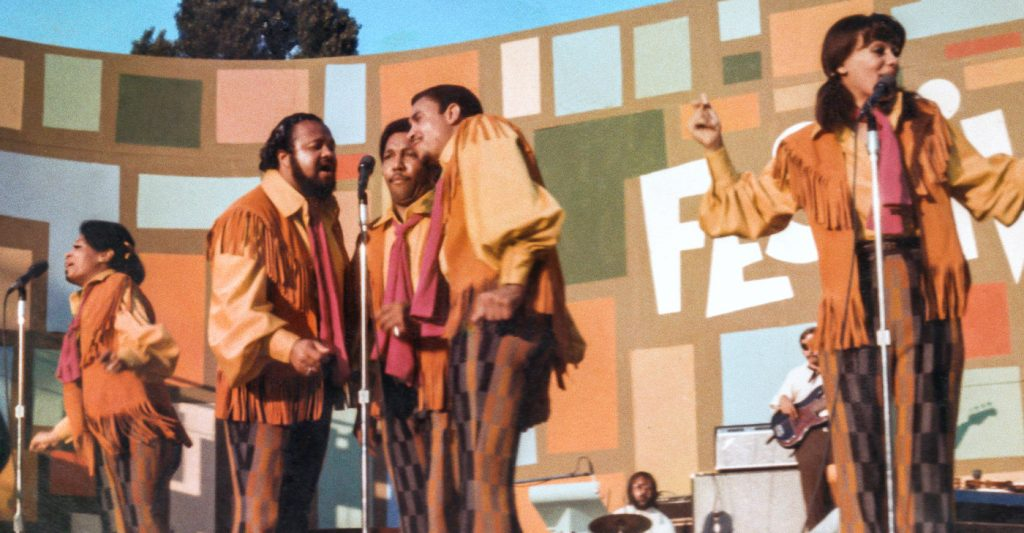 he 5th Dimension performing at the Harlem Cultural Festival in 1969, featured in the documentary SUMMER OF SOUL. Photo courtesy Searchlight Pictures.