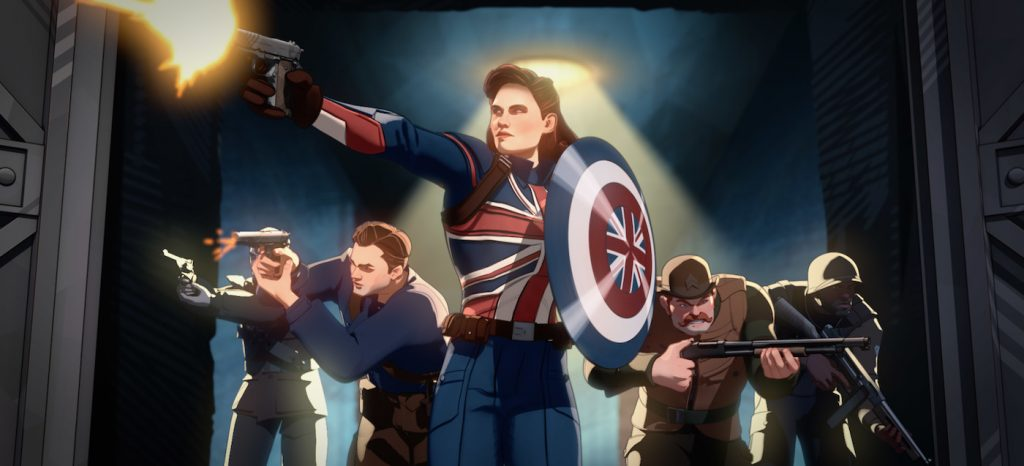 Captain Carter (center) and the Howling Commandos in Marvel Studios'