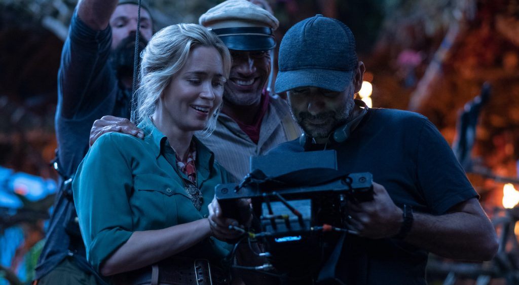 (L-R): Emily Blunt, Dwayne Johnson and director Jaume Collet-Serra on the set of Disney's JUNGLE CRUISE. Photo by Frank Masi. © 2021 Disney Enterprises, Inc. All Rights Reserved.