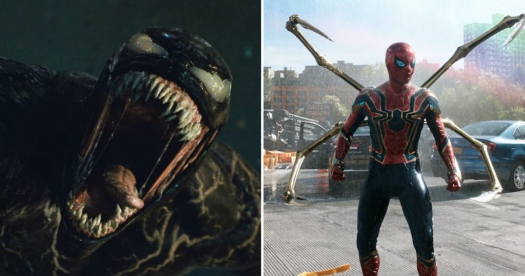 """Featured image: L-r: Featured image: An image from """"Venom: Let There Be Carnage."""" Courtesy Sony Pictures, Tom Holland is Peter Parker in Spider-Man: No Way Home. Courtesy Sony Pictures."""