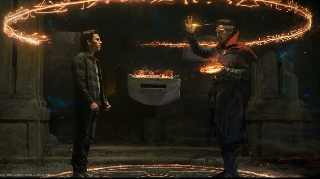 Benedict Cumberbatch is Doctor Strange and Tom Holland is Peter Parker inSpider-Man: No Way Home. Courtesy Sony Pictures.