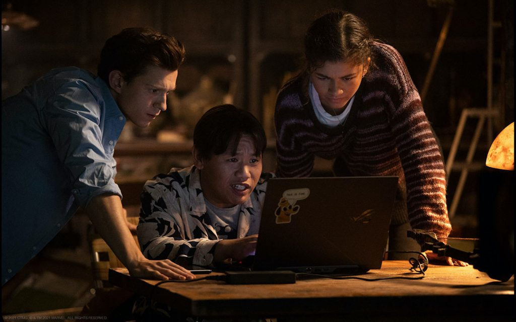 """Peter Parker (Tom Holland), Ned (Jacob Leeds) and MJ (Zendaya), in """"Spider-Man: No Way Home."""" Courtesy Sony Pictures."""