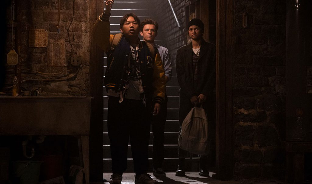 """Ned (Jacob Batalon), Peter Parker (Tom Holland), and MJ (Zendaya), and in """"Spider-Man: No Way Home."""" Courtesy Sony Pictures."""