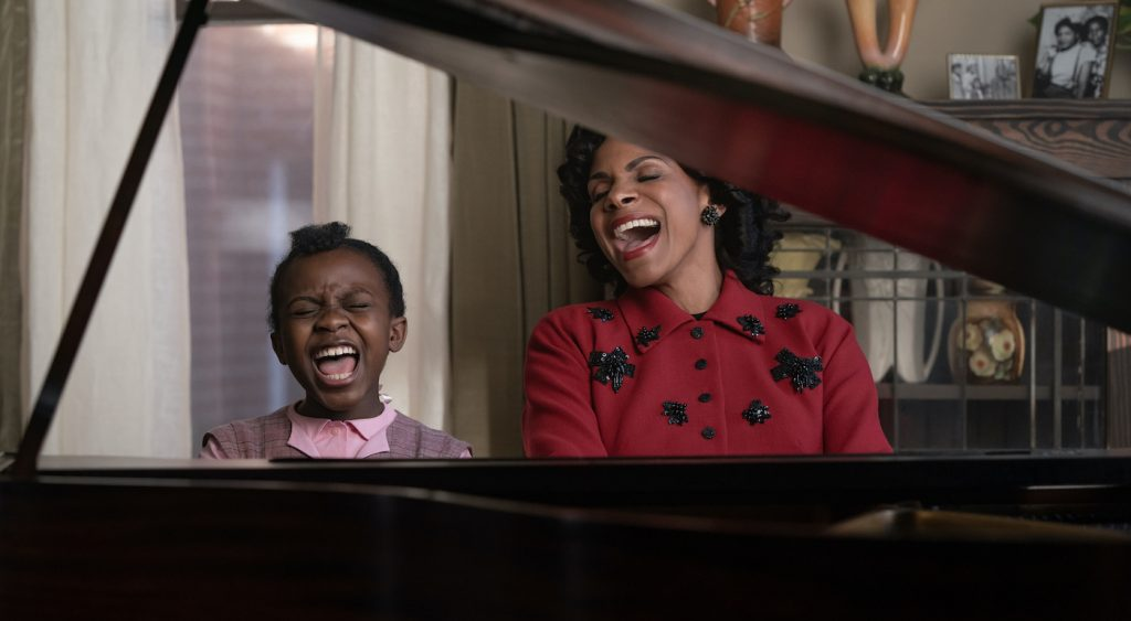 Skye Dakota Turner stars as Young Aretha Franklin and Audra McDonald as her mother Barbara in RESPECT. A Metro Goldwyn Mayer Pictures film. Photo credit: Quantrell D. Colbert