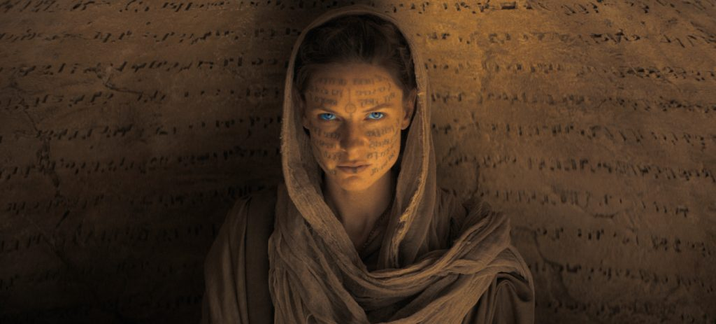"""Caption: REBECCA FERGUSON as Lady Jessica in Warner Bros. Pictures' and Legendary Pictures' action adventure """"DUNE,"""" a Warner Bros. Pictures release. Photo Credit: Courtesy of Warner Bros. Pictures and Legendary Pictures"""