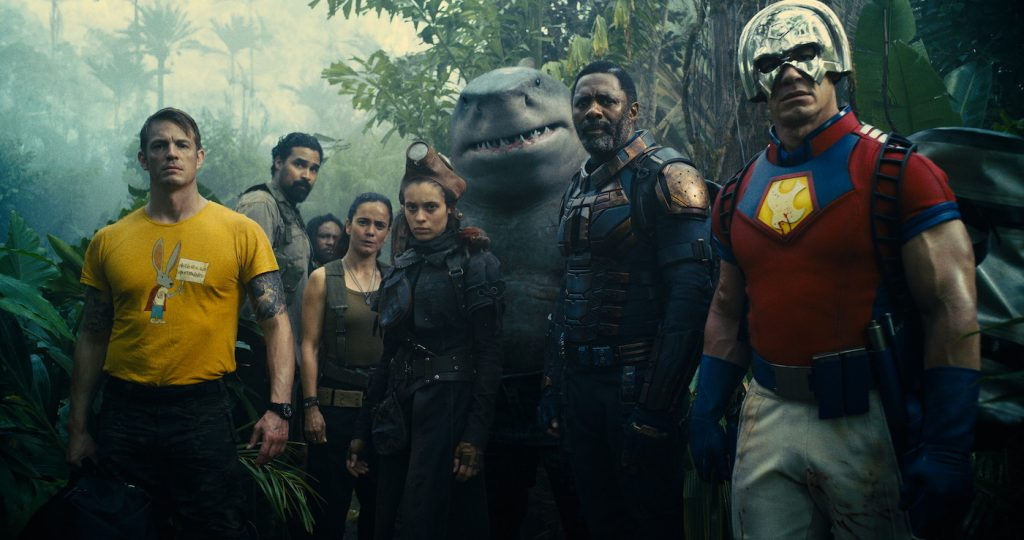 """Caption: (L-r) JOEL KINNAMAN as Colonel Rich Flag, ALICE BRAGA as Sol Soria, DANIELA MELCHIOR as Ratcatcher 2, KING SHARK, IDRIS ELBA as Bloodsport and JOHN CENA as Peacemaker in Warner Bros. Pictures' superhero action adventure """"THE SUICIDE SQUAD,"""" a Warner Bros. Pictures release.Photo Credit: Courtesy of Warner Bros. Pictures/™ & © DC Comics"""