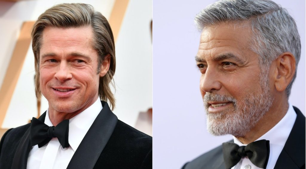 L-r: HOLLYWOOD, CALIFORNIA - FEBRUARY 09: Brad Pitt attends the 92nd Annual Academy Awards at Hollywood and Highland on February 09, 2020 in Hollywood, California. (Photo by Amy Sussman/Getty Images). HOLLYWOOD, CA - JUNE 07:  Honoree George Clooney attends the American Film Institute's 46th Life Achievement Award Gala Tribute to George Clooney at Dolby Theatre  on June 7, 2018 in Hollywood, California.  (Photo by Rich Fury/Getty Images).