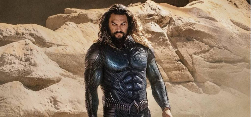 Aquaman (Jason Momoa) in his new steal suit. Courtesy Jason Momoa/Warner Bros.