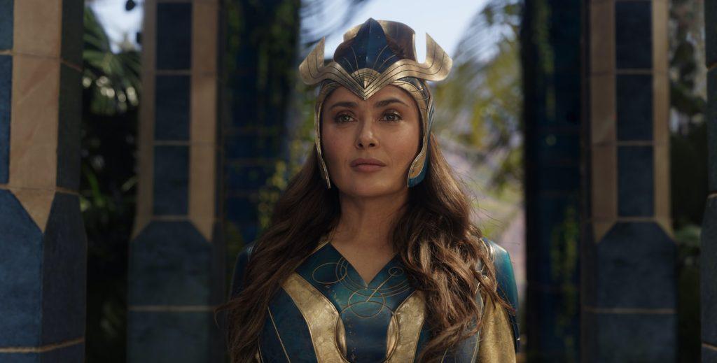 Ajak (Salma Hayek) in Marvel Studios' ETERNALS. Photo courtesy of Marvel Studios. ©Marvel Studios 2021. All Rights Reserved.