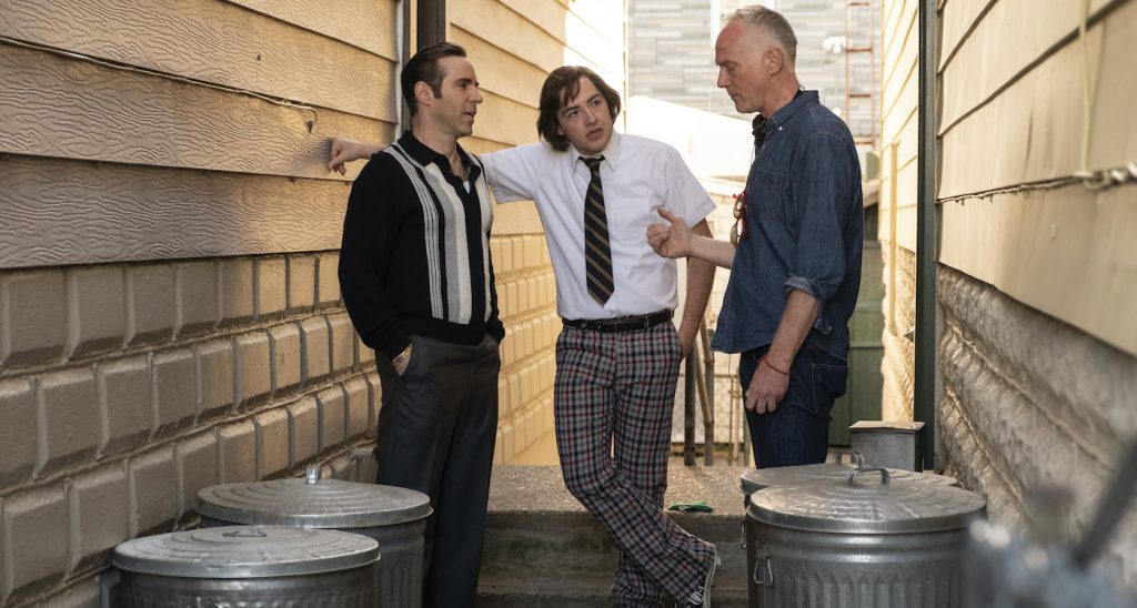 """Caption: (L-r) ALESSANDRO NIVOLA, MICHAEL GANDOLFINI and director ALAN TAYLOR on the set of New Line Cinema and Home Box Office's mob drama """"THE MANY SAINTS OF NEWARK,"""" a Warner Bros. Pictures release. Photo Credit: Barry Wetcher"""