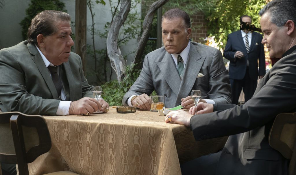 """Caption: (L-r) JOEY COCO DIAZ as Buddha, RAY LIOTTA as """"Hollywood Dick"""" Moltisanti and JOHN BORRAS as Bishop in New Line Cinema and Home Box Office's mob drama """"THE MANY SAINTS OF NEWARK,"""" a Warner Bros. Pictures release. Photo Credit: Barry Wetcher"""